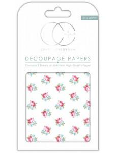 Craft Consortium Button Rose dekupaaž (salvrätitehnika) paber