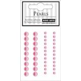 Adhesive pearls 42 pcs. Poolpärlid kleeppinnaga. Roosad