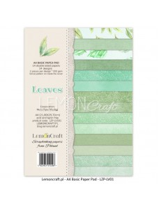 Stack of basic scrapbooking papers - Leaves 01, A4 (21x29,7 cm) paberiplokk