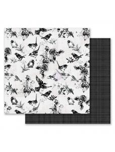12x12 Flirty Fleur-Pretty Birds disainpaber fooliumiga