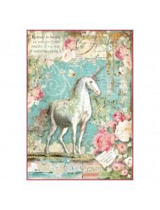 Stamperia A4 rice paper packed - Wonderland unicorn. Riisipaber