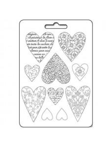 Stamperia Soft Mould A4 size Textured hearts. Pehme PVC vorm modelleerimiseks