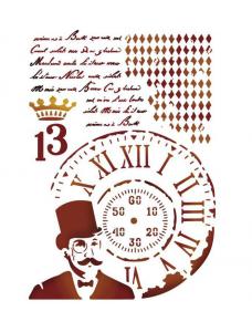 Stamperia Stencil D cm. 20x15 Steampunk Man. Trafarett