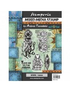 Stamperia Cling Stamp by ANTONIS TZANIDAKIS 15x20 cm - Sea World - octupus. Kummitemplite komplekt