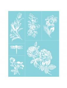 Martha Stewart Adhesive Glass Silkscreen. English Garden. Trafarett