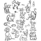 Tim Holtz Cling Stamps 17,8 x 21,6 cm - Mini Cats and Dogs. Kummitemplite komplekt