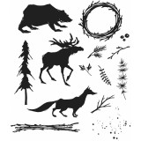 Tim Holtz Cling Stamps 17,8 x 21,6 cm - Into The Woods. Kummitemplite komplekt