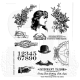 Tim Holtz Cling Stamps 17,8 x 21,6 cm - Ladies and Gentlemen. Kummitemplite komplekt